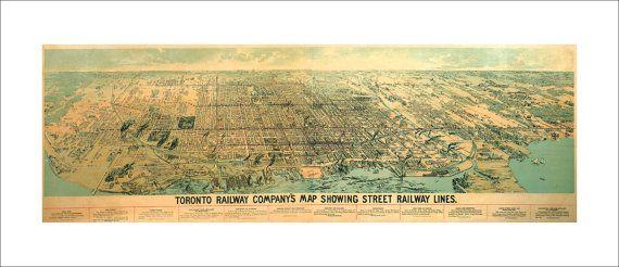 "Toronto Ontario in 1892 Panoramic Bird's Eye View Map by Toronto Railway Company 22x9"" Reproduction"