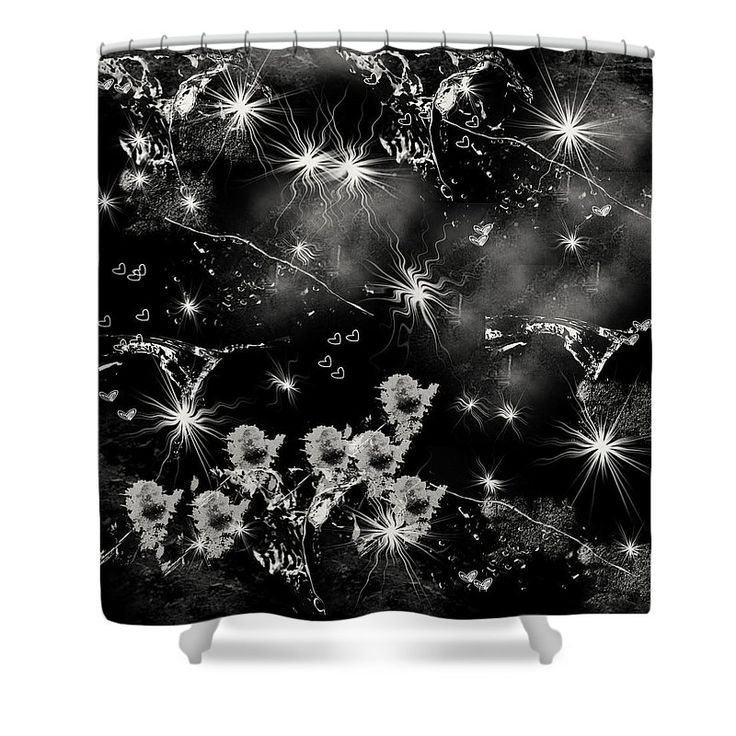 """Black Square By Jenny Rainbow Shower Curtain by Jenny Rainbow.  This shower curtain is made from 100% polyester fabric and includes 12 holes at the top of the curtain for simple hanging.  The total dimensions of the shower curtain are 71"""" wide x 74"""" tall."""
