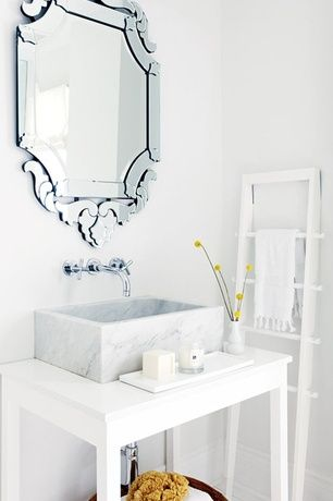 Contemporary Powder Room with Fima Frattini by Nameeks S5321L/5 Wall Mount Bathroom Faucet, ceramic tile floors, High ceiling