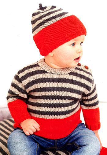 Free Pattern! Knitted Baby Sweater in Rico Baby Classic DK