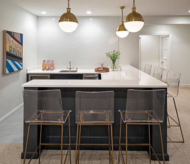 Basement Bar Painted In Navy Paint Color Benjamin Moore Hale Navy, White  Subway Tile, Hicks Pendants, White Quartz Countertop And Gabby Home Acrylic  Bar ...