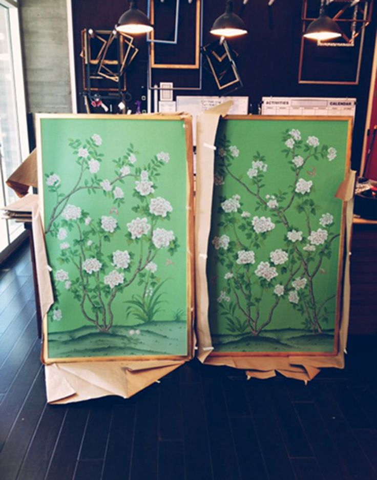 Chinoiserie prints like these two beauties not only work well with lighter colours, they're also a great match for dark walls and floors. The sombre tones will make the pastels pop.