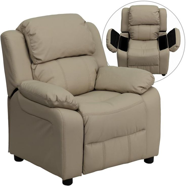 Kidsu0027 Recliners   Flash Furniture Deluxe Heavily Padded Contemporary Beige  Vinyl Kids Recliner With Storage Arms ** Be Sure To Check Out This Awesome  ...