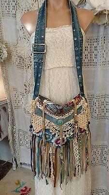 Handmade Denim Vintage Lace Cross Body Bag Hippie Crochet Fringe Purse tmyers