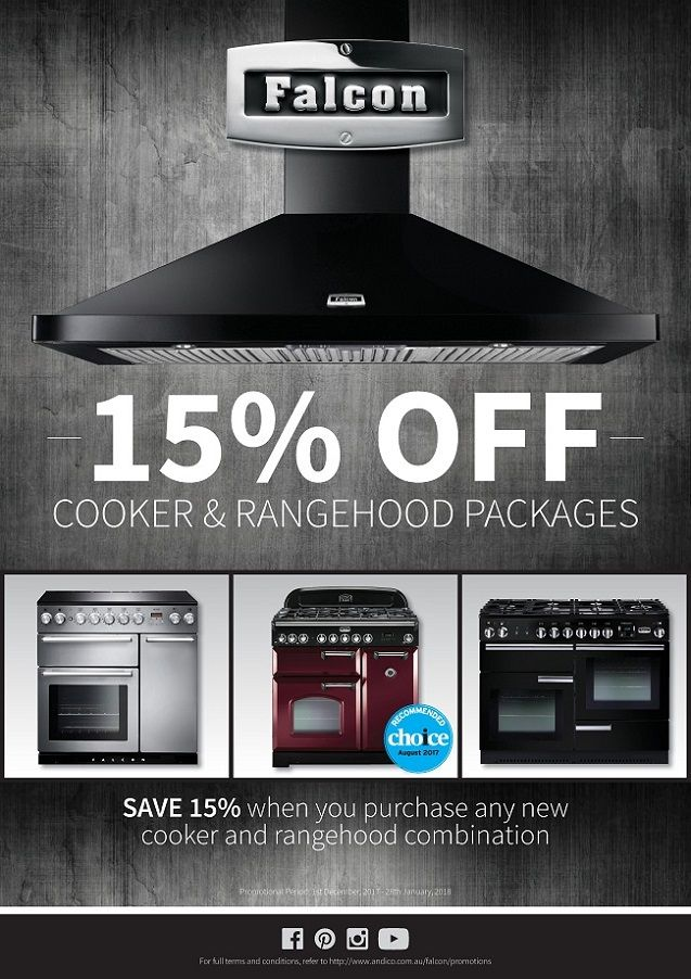 PRESTIGE APPLIANCES CHATSWOOD - Falcon - SAVE 15% OFF all FALCON Cooker & Rangehood Packages - We are pleased to announce that commencing Friday 1st  December 2017 until Sunday 28th January 2018 (inclusive) customers can purchase an eligible NEW Falcon Cooker & Rangehood at the same time on the same invoice during the promotional period and they will receive 15% OFF - Offer valid ONLY for applicable models as specified. Does not apply to display stock or trade seconds and commercial project…