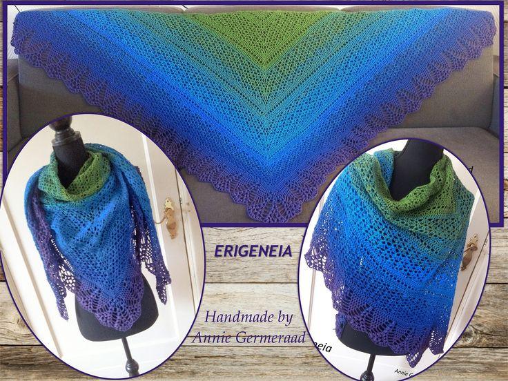 Erigeneia shawl Met Unikat garen 1100 meter Patroon van Silke Terhorst. NL versie is te vinden op mijn FB groep: Annyone's Shawls Groep