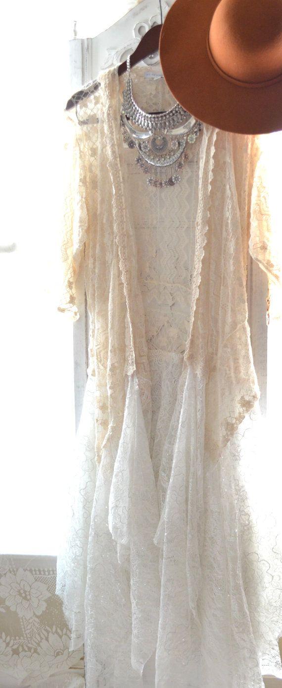 Gypsy crochet kimono Bohemian crochet duster by TrueRebelClothing