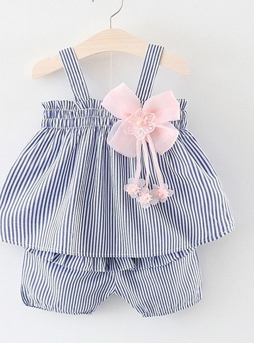35f40eee358 Baby Girls  Active Daily Striped Print Sleeveless Regular Cotton Clothing  Set Blue   Toddler 2019