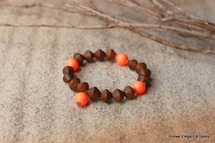 Brighten your day with Swarovski Orange Neon pearls in this fab Howe Sassy stretch bracelet