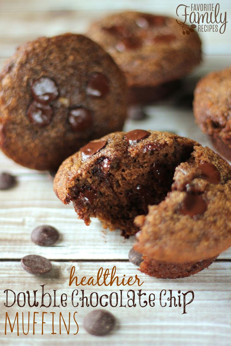 These Healthier Double Chocolate Chip Muffins are the best thing that happened to breakfast at our house! More nutrients and less calories! I love eating them warm so the chocolate chips inside are a little melted and gooey.