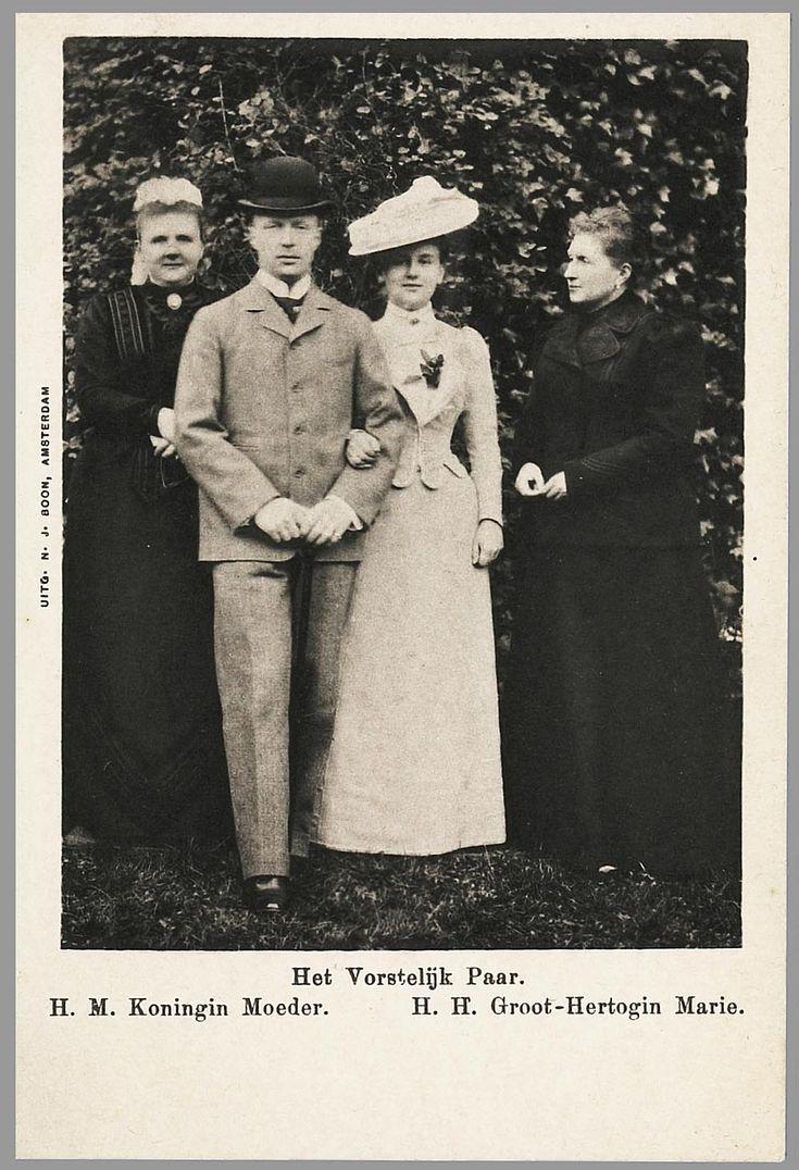 Dutch Queen mother Emma, prince consort to be Hendrik, Queen Wilhelmina and the dowager grand duchess Marie van Mecklenburg-Schwerin, 1900.