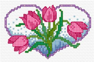BLOG  flower hearts - tulips free cross stitch chart
