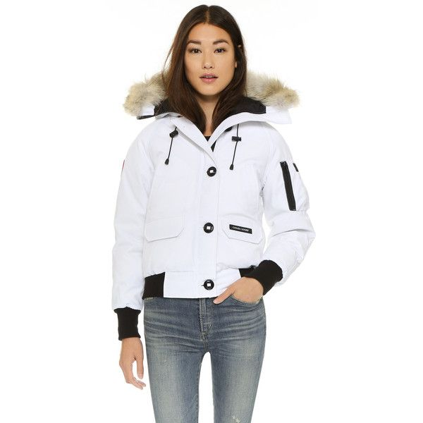 Canada Goose Chilliwack Bomber Jacket ($630) ❤ liked on Polyvore featuring outerwear, jackets, white, fur trimmed bomber jacket, logo jackets, white jacket, canada goose and blouson jacket