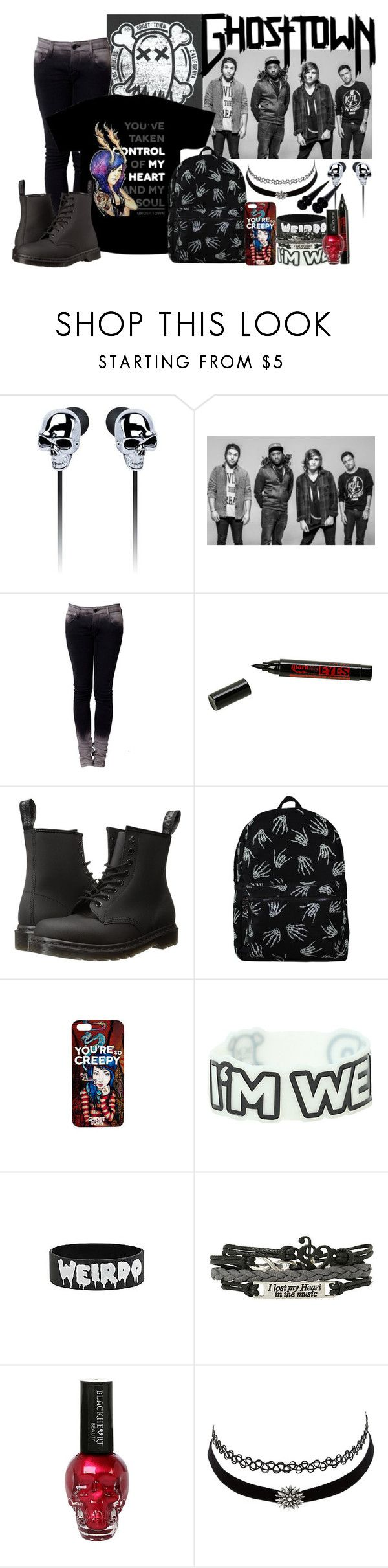 """Band tag, ghost town"" by zombielover100 ❤ liked on Polyvore featuring Hot Topic, Dr. Martens and Charlotte Russe"