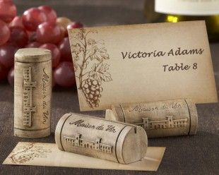 """Maison du Vin"" Wine Cork Place Card/Photo Holder with Grape-Themed Place Cards (Set of 4) http://www.1weddingsource.com/store/index.php/maison-du-vin-wine-cork-place-card-photo-holder-with-grape-themed-place-cards"