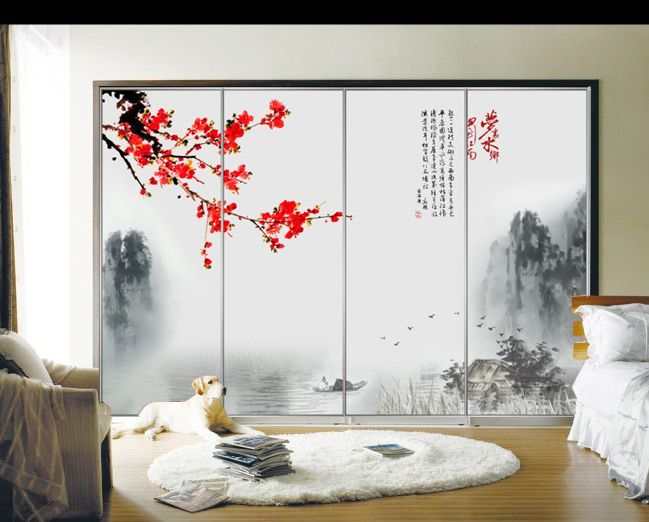 Glass Film Wardrobe Waterproof Stickers Sliding Door Wooden