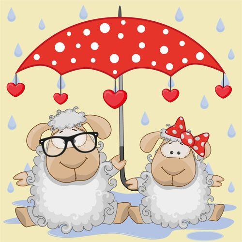 Cute animals and umbrella cartoon vector 11