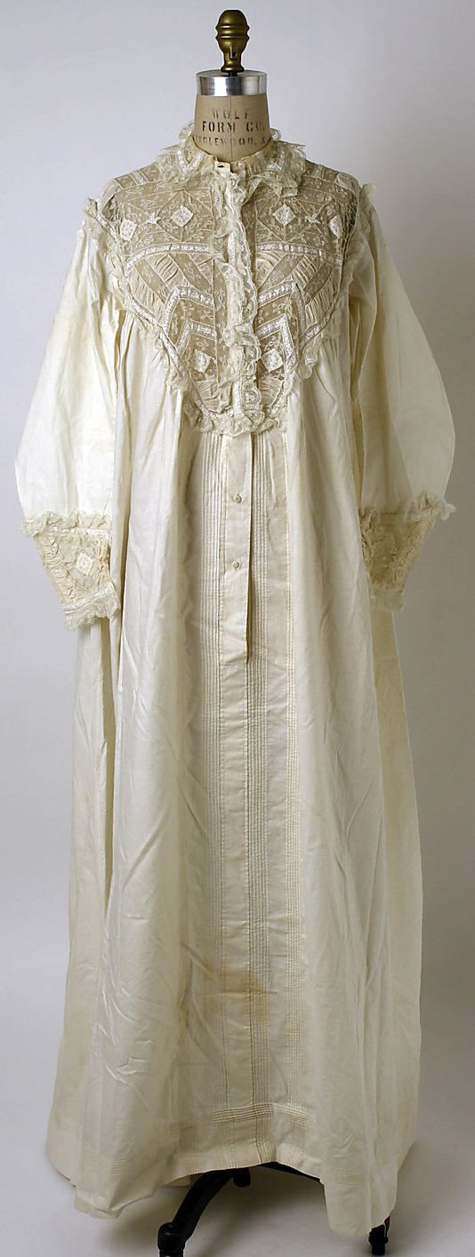 """Nightgown 1865, American or European. Men wore such """"night shirts"""" as well, usually a bit shorter."""