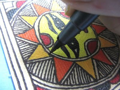 CrazyLassi's Madhubani Art Practice and Research Blog: How to Make Madhubani Greeting Cards
