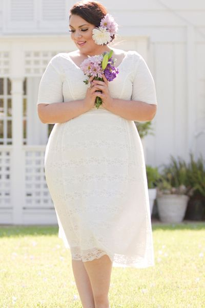 Swak Kara Lace Dress In White Casual Short Vintage Plus Size Wedding Dress  #plussizeweddingdresses #