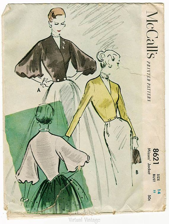 50s Womens Evening Jacket Pattern McCalls 8621 by VirtualVintage