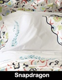 Snapdragon: Snapdragon bloom embroidery, available in four fresh colors, on 300 TC white percale sheeting.