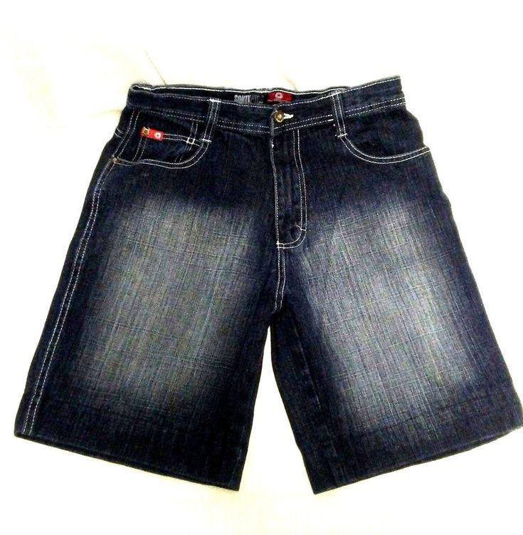 "South Pole Womens Stone Dark Blue Wash Jean Shorts Rn82628 Size 16 Waist 28""  #Southpole #CasualShorts"