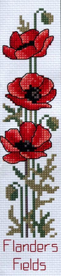 Flanders Poppies Bookmark - A Country Threads Cross Stitch Kit