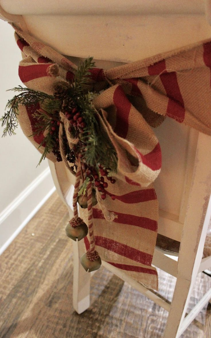 """Chair-Bows At Rivercrest Cottage,    Here's a favorite piece of Christmas decor, which always makes me happy when I pull it out to decorate the house.       I bought this """"c..."""
