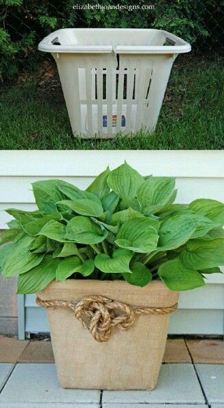 Who knew.....Burlap,Rope, and cheap plastic laundry basket = beautiful pot cover