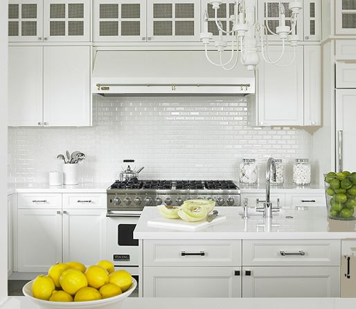 Mini White Subway Tile Backsplash White Shaker Kitchen