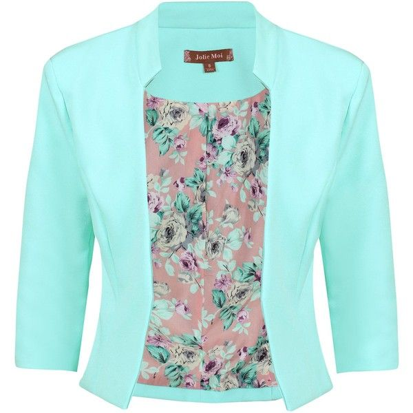 Jolie Moi Floral Print Lined Open Front Blazer ($57) ❤ liked on Polyvore featuring outerwear, jackets, blazers, sale women coats & jackets, cropped blazer, cropped jacket, open front jacket, cropped blazer jacket and 3/4 sleeve jacket