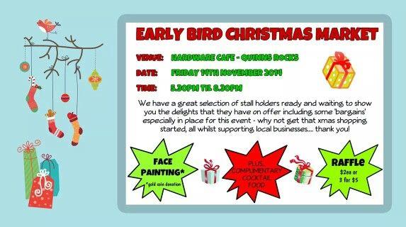 Early Bird #Christmas #Market #quinns #quinnsrocks