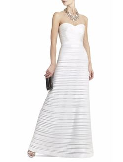 Белое платье без бретелек длинное