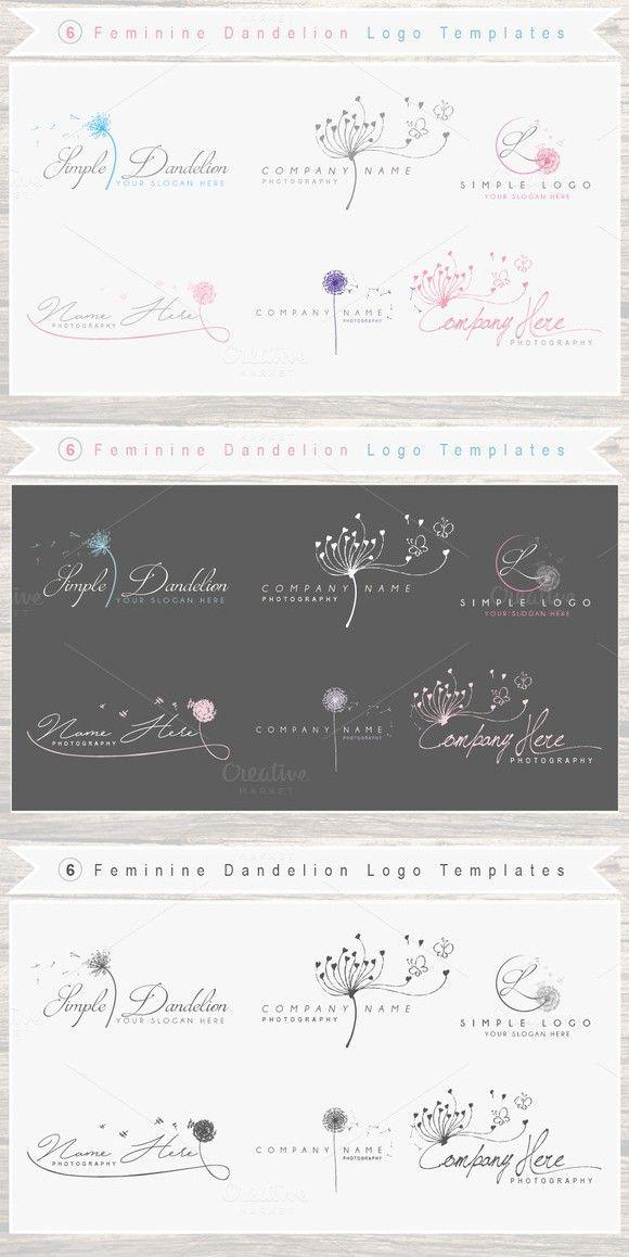 6 Feminine Dandelion Logo Template . Wedding Fonts. $16.00