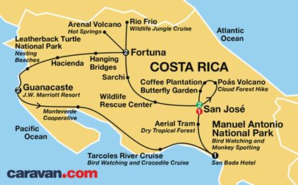 Caravan Tours Costa Rica Tour Map