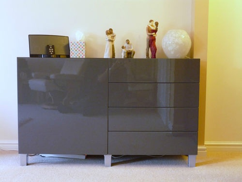 details about ikea burs besta sideboard unit high gloss grey taupe lighter and grey. Black Bedroom Furniture Sets. Home Design Ideas