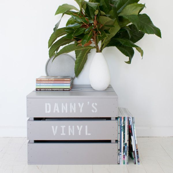 Personalised vinyl crate with lid