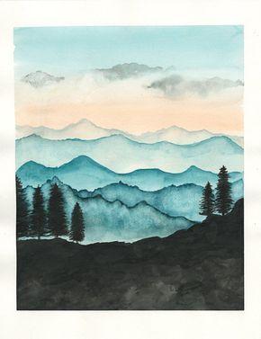 Blue Ridge Mountains Aquarell Print / Natur von RainStain auf Etsy – #Aquarell #auf #Blue #etsy #Mountains