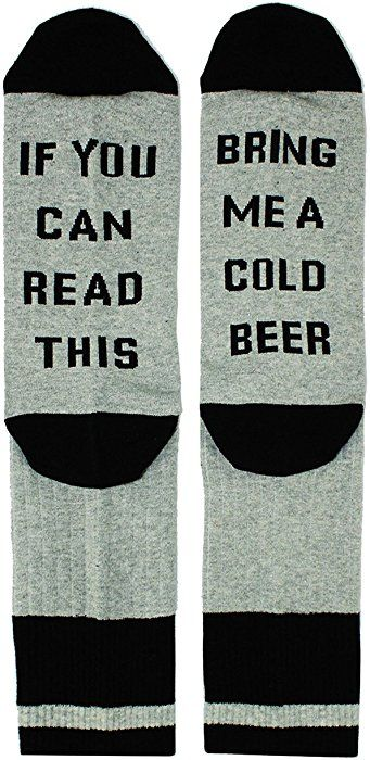 86d943f64936 Amazon.com: If You Can Read This Novelty Funny Saying Beer Socks Crew Socks,  Gag Beer Gift for Men: Clothing