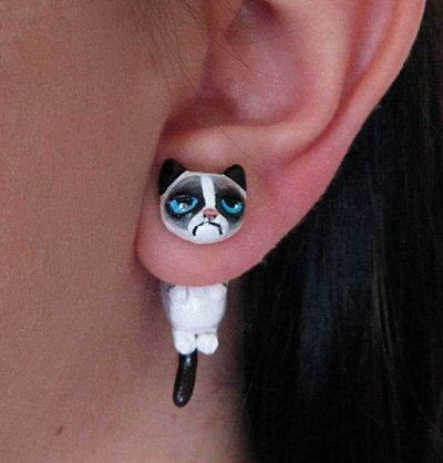Grumpy Cat earring, Polymer Clay Faux Gauge Earring by FlowerLandShop on Etsy