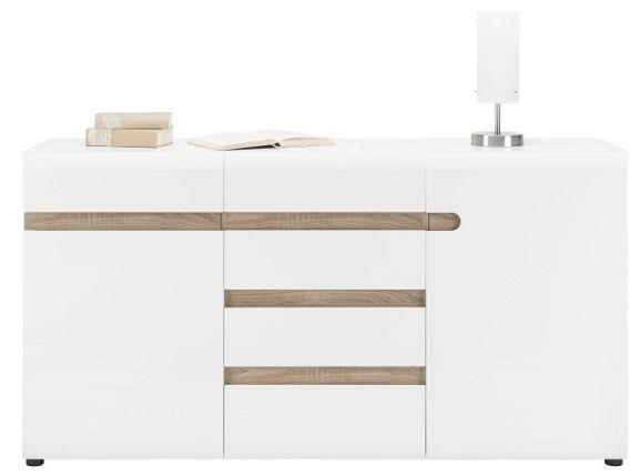 Tálalószekrény: magasfényű fehér/trüffel dekor kivitel, 2 ajtós, 2 belső polccal és 4 fiókkal, Szé/Ma/Mé:kb.164/87/42cm