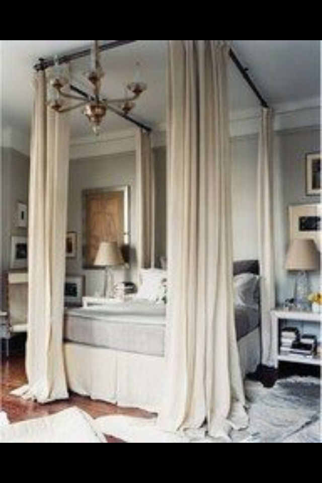 mock canopy bed made with curtain rods the m a s t e r. Black Bedroom Furniture Sets. Home Design Ideas