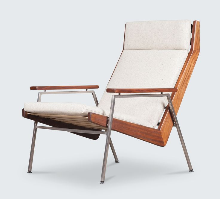 Stunning Easy Chair in Teak by Rob Parry for Gelderland, Netherlands, 1960. This stunning chair has teak armrests and sides with a steel frame and leg. The chair has been newly re-upholstered in a stunning oatmeal fabric. Two available, each sold separately.