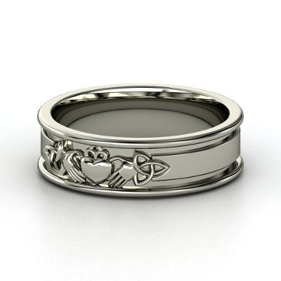 Claddagh rings are the traditional Irish token of love. The distinctive design features two hands grasping a crowned heart, symbolizing love, friendship and loyalty: let love and friendship reign forever. This band adds two triqueta Celtic knots, which symbolize mind, body, and spirit or the trinity. You make this design personal in your favorite metals. You give it meaning