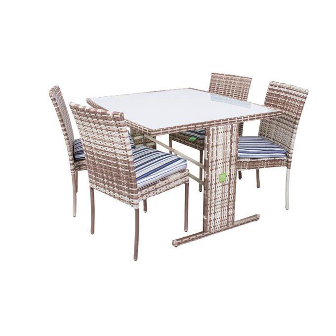 Set mobili da giardino tavolo con 4 sedie in polyrattan bicolore con cuscini