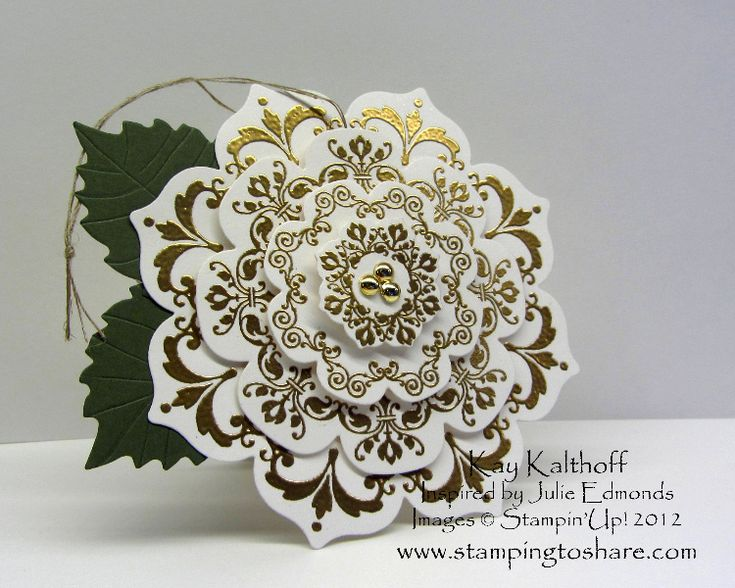 12/4/2012; Kay Kalthoff at 'Stamping to Share' blog; Daydream Medallion Christmas Tags; almost too lovely for a tag!!