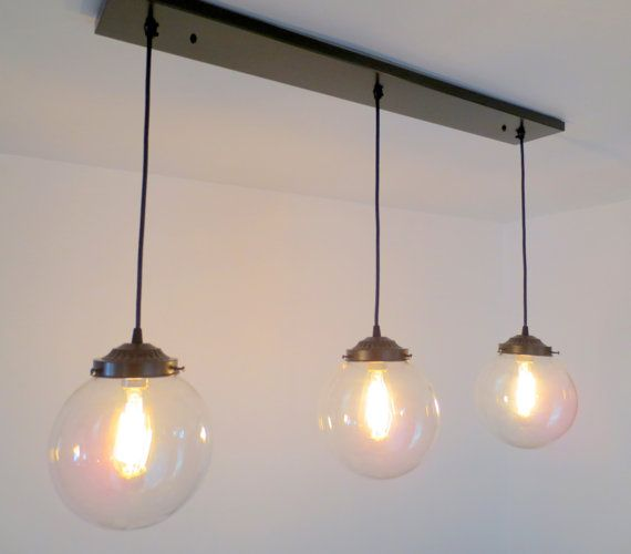 Biddeford. Modern LIGHT Trio Of Large Globe Pendants With