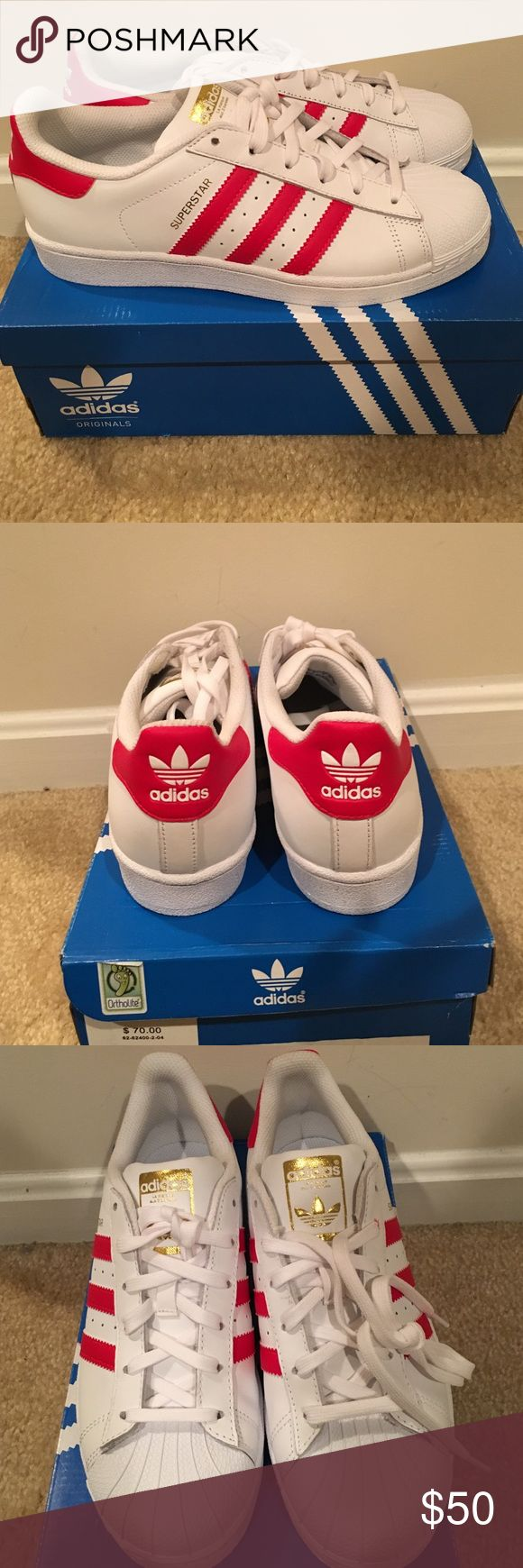 RED AND WHITE AUTHENTIC ADIDAS SUPERSTARS. BRAND NEW, NEVER BEEN WORN! They retail for at least $70, so this is a steal!! ;-). This classic kick will have your '90's inspired street style on lock! Let me know if you're interested! adidas Shoes Sneakers