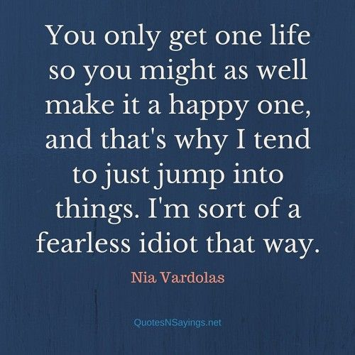 You only get one life so you might as well make it a happy one, and that's why I tend to just jump into things. I'm sort of a fearless idiot that way. - Nia Vardolas quote